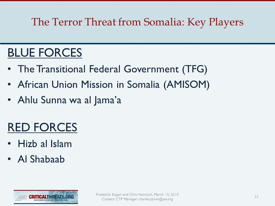The Terror Threat from Somalia: Key Players 11 Frederick Kagan and Chris Harnisch, March 10, 2010 Contact CTP Manager: charlie.szrom@aei.org BLUE FORCES The Transitional Federal Government (TFG) African Union Mission in Somalia (AMISOM) Ahlu Sunna wa al Jama'a RED FORCES Hizb al Islam Al Shabaab