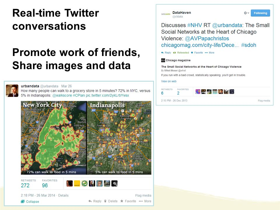 Real-time Twitter conversations Promote work of friends, Share images and data