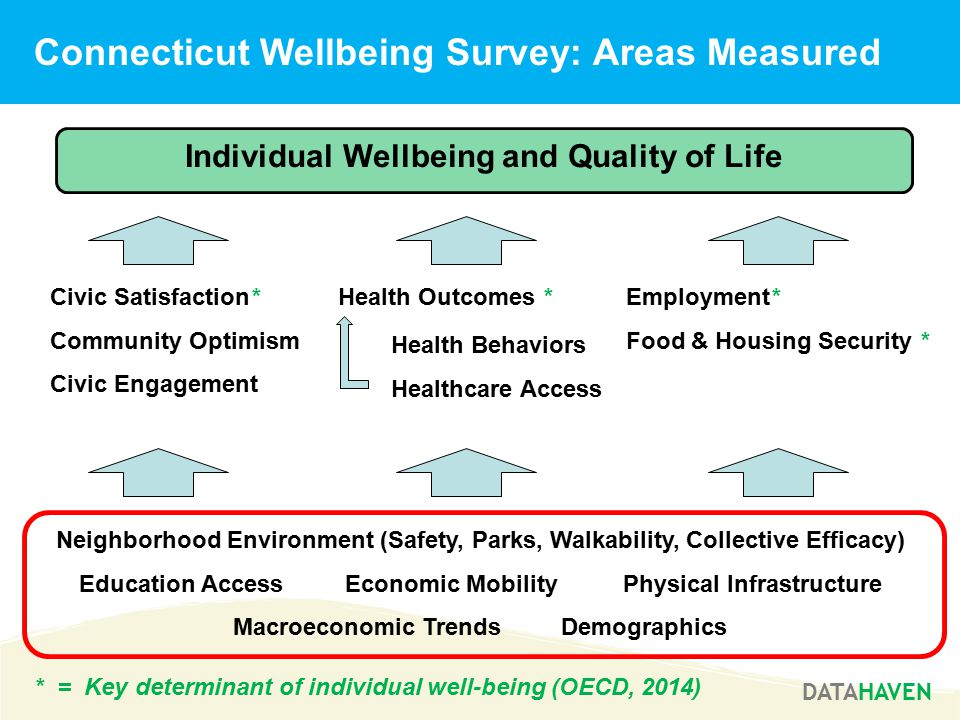 DATAHAVEN Connecticut Wellbeing Survey: Areas Measured * = Key determinant of individual well-being (OECD, 2014) Individual Wellbeing and Quality of Life Neighborhood Environment (Safety, Parks, Walkability, Collective Efficacy) Education Access Economic Mobility Physical Infrastructure Macroeconomic Trends Demographics Employment* Food & Housing Security * Civic Satisfaction* Community Optimism Civic Engagement Health Outcomes * Health Behaviors Healthcare Access