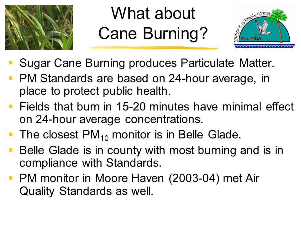 What about Cane Burning.  Sugar Cane Burning produces Particulate Matter.