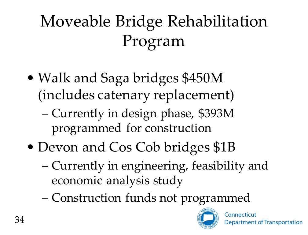 Moveable Bridge Rehabilitation Program Walk and Saga bridges $450M (includes catenary replacement) –Currently in design phase, $393M programmed for construction Devon and Cos Cob bridges $1B –Currently in engineering, feasibility and economic analysis study –Construction funds not programmed 34