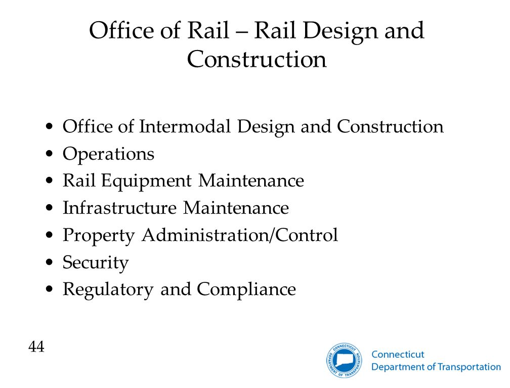 Office of Rail – Rail Design and Construction Office of Intermodal Design and Construction Operations Rail Equipment Maintenance Infrastructure Maintenance Property Administration/Control Security Regulatory and Compliance 44