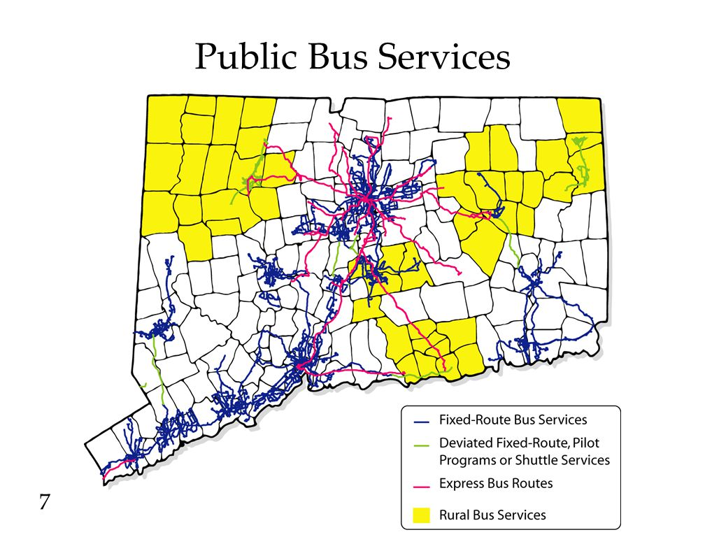 Statewide Bus System Profile Total Bus Transit System (CTTRANSIT, Express Bus, Transit Districts, ADA, Dial-a-Ride and Shuttle Services) Annual Passenger Trips – 38,200,000 Annual Revenues - $39,000,000 Annual Subsidy and non-Subsidy Expenses - $189,000,000 Total Annual Subsidy - $141,000,000 CDOT Share of Annual Subsidy - $135,000,000 Average Subsidy/Passenger - $3.52 Subsidy/Passenger by Service Type Urban -$3.09 Express Bus - $3.83 Rural - $7.63 ADA Services - $28.35 8