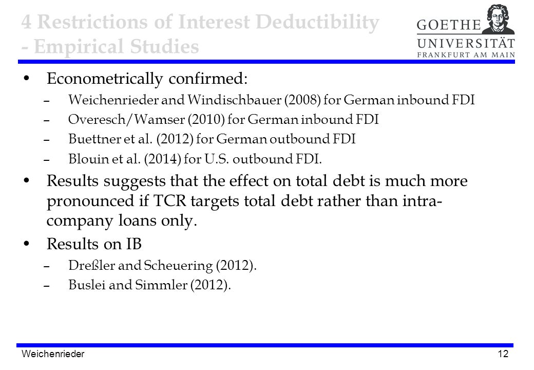 12 Econometrically confirmed: –Weichenrieder and Windischbauer (2008) for German inbound FDI –Overesch/Wamser (2010) for German inbound FDI –Buettner et al.