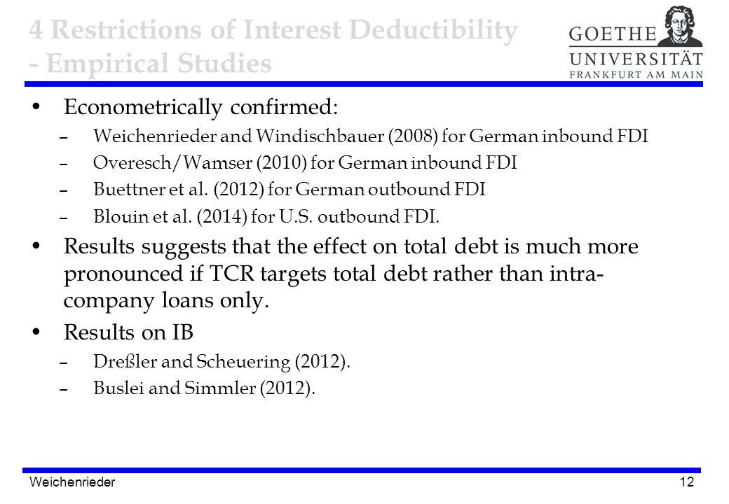 12 Econometrically confirmed: –Weichenrieder and Windischbauer (2008) for German inbound FDI –Overesch/Wamser (2010) for German inbound FDI –Buettner