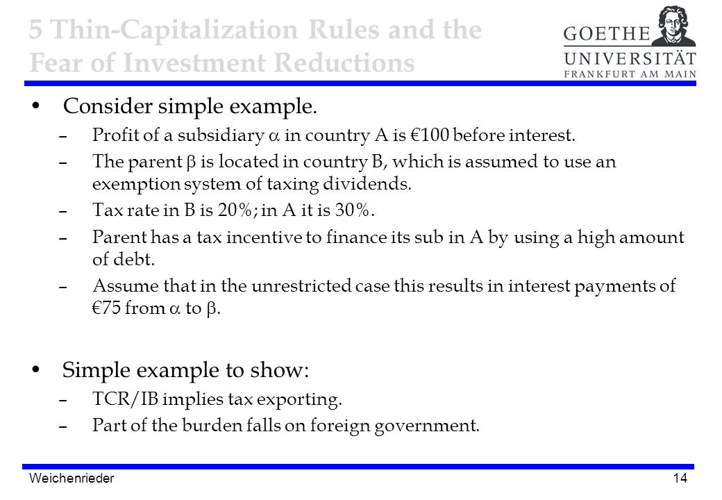 14 Consider simple example. –Profit of a subsidiary  in country A is €100 before interest. –The parent  is located in country B, which is assumed to