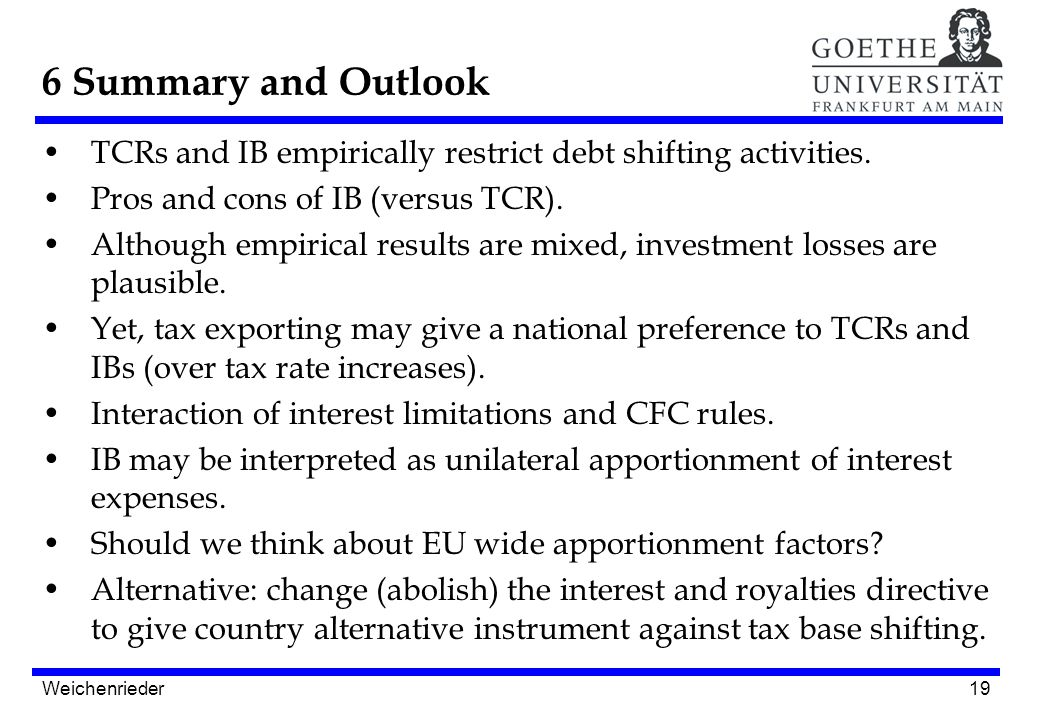 19 TCRs and IB empirically restrict debt shifting activities.