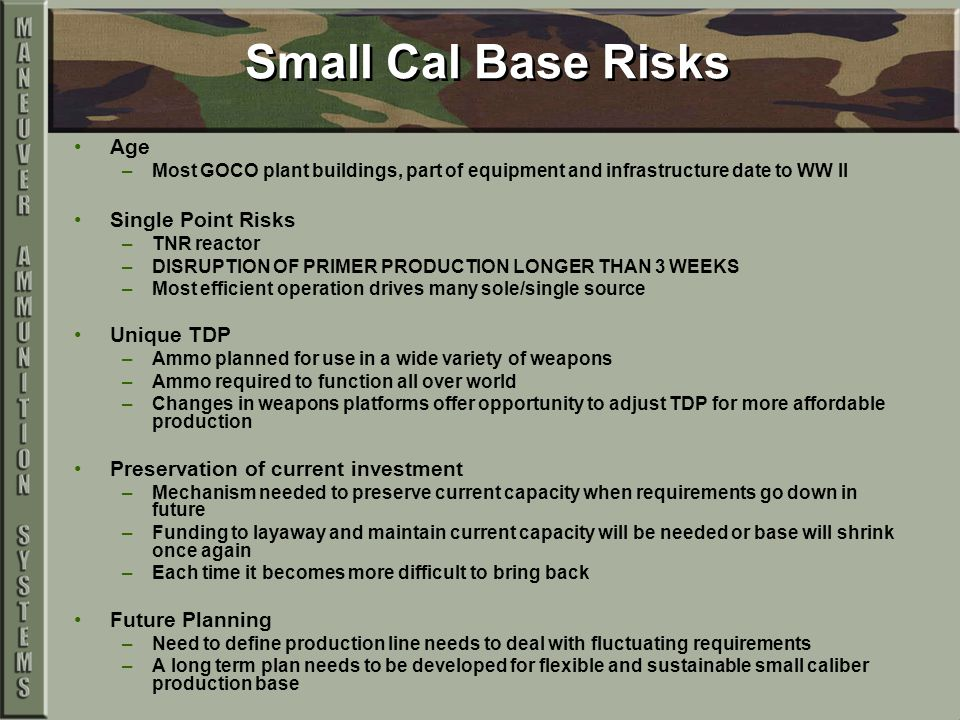 Small Cal Base Risks Age –Most GOCO plant buildings, part of equipment and infrastructure date to WW II Single Point Risks –TNR reactor –DISRUPTION OF PRIMER PRODUCTION LONGER THAN 3 WEEKS –Most efficient operation drives many sole/single source Unique TDP –Ammo planned for use in a wide variety of weapons –Ammo required to function all over world –Changes in weapons platforms offer opportunity to adjust TDP for more affordable production Preservation of current investment –Mechanism needed to preserve current capacity when requirements go down in future –Funding to layaway and maintain current capacity will be needed or base will shrink once again –Each time it becomes more difficult to bring back Future Planning –Need to define production line needs to deal with fluctuating requirements –A long term plan needs to be developed for flexible and sustainable small caliber production base