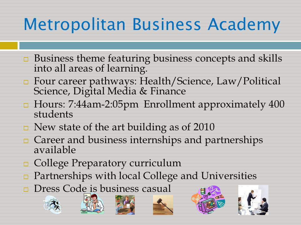 Metropolitan Business Academy  Business theme featuring business concepts and skills into all areas of learning.