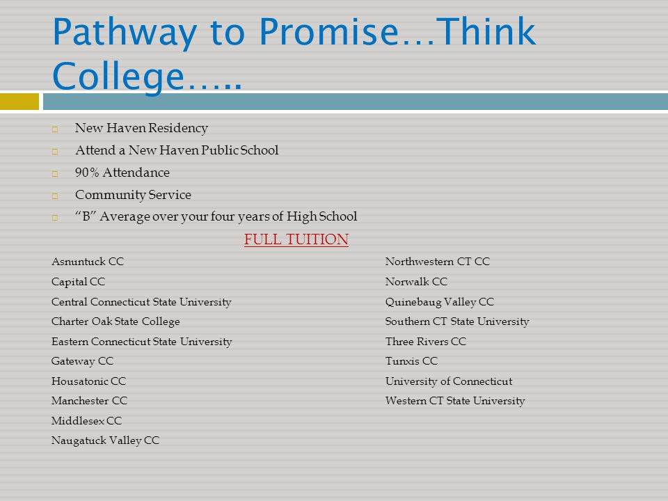 Pathway to Promise…Think College…..