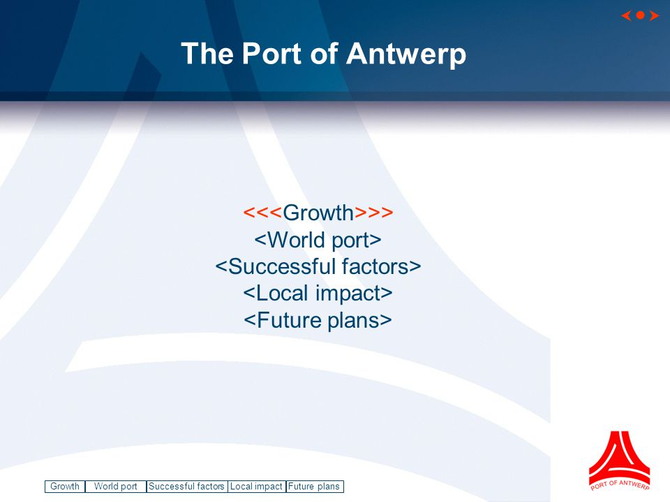 GrowthWorld port Successful factorsLocal impact   Future plans 010105 10-98 Centrality index European ports (Antwerp = 1,00) Successful factors Very central geographical position