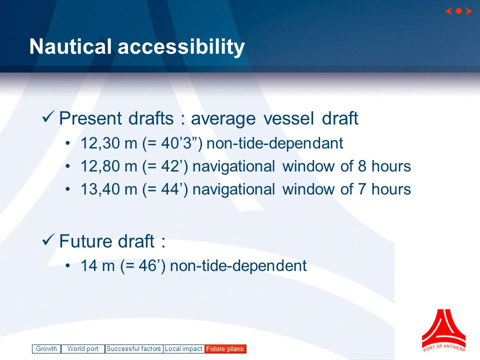 GrowthWorld port Successful factorsLocal impact   Future plans Nautical accessibility Present drafts : average vessel draft 12,30 m (= 40'3 ) non-tide-dependant 12,80 m (= 42') navigational window of 8 hours 13,40 m (= 44') navigational window of 7 hours Future draft : 14 m (= 46') non-tide-dependent Future plans