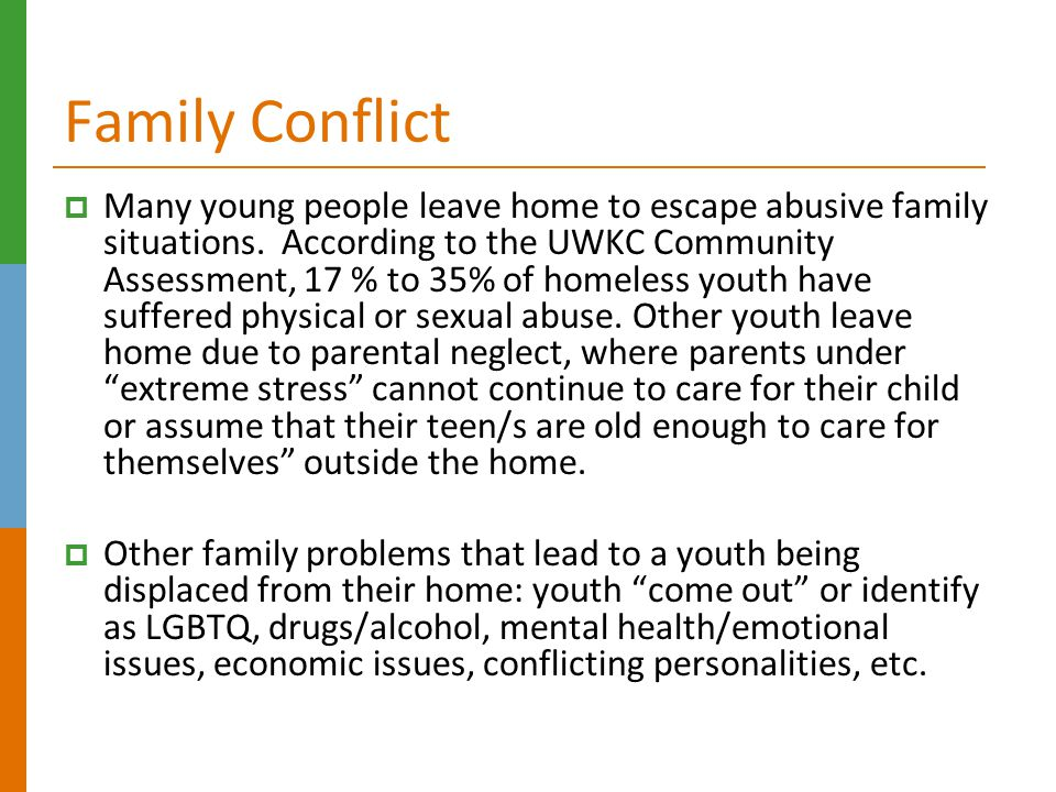 Family Conflict  Many young people leave home to escape abusive family situations.