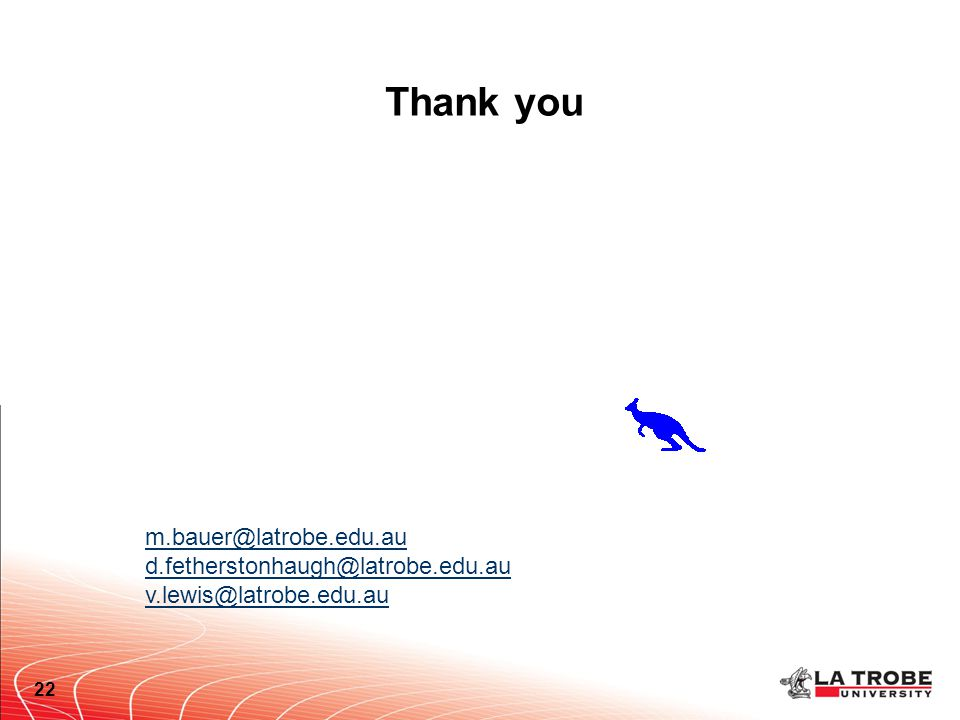 Thank you 22 m.bauer@latrobe.edu.au d.fetherstonhaugh@latrobe.edu.au v.lewis@latrobe.edu.au