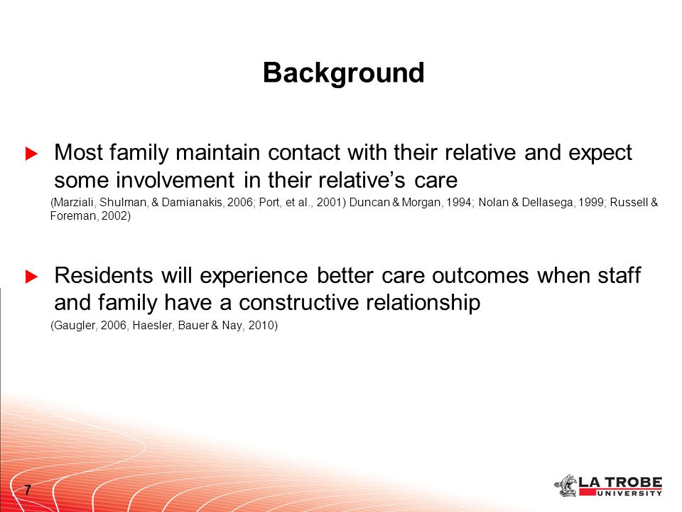 Background  Most family maintain contact with their relative and expect some involvement in their relative's care (Marziali, Shulman, & Damianakis, 2