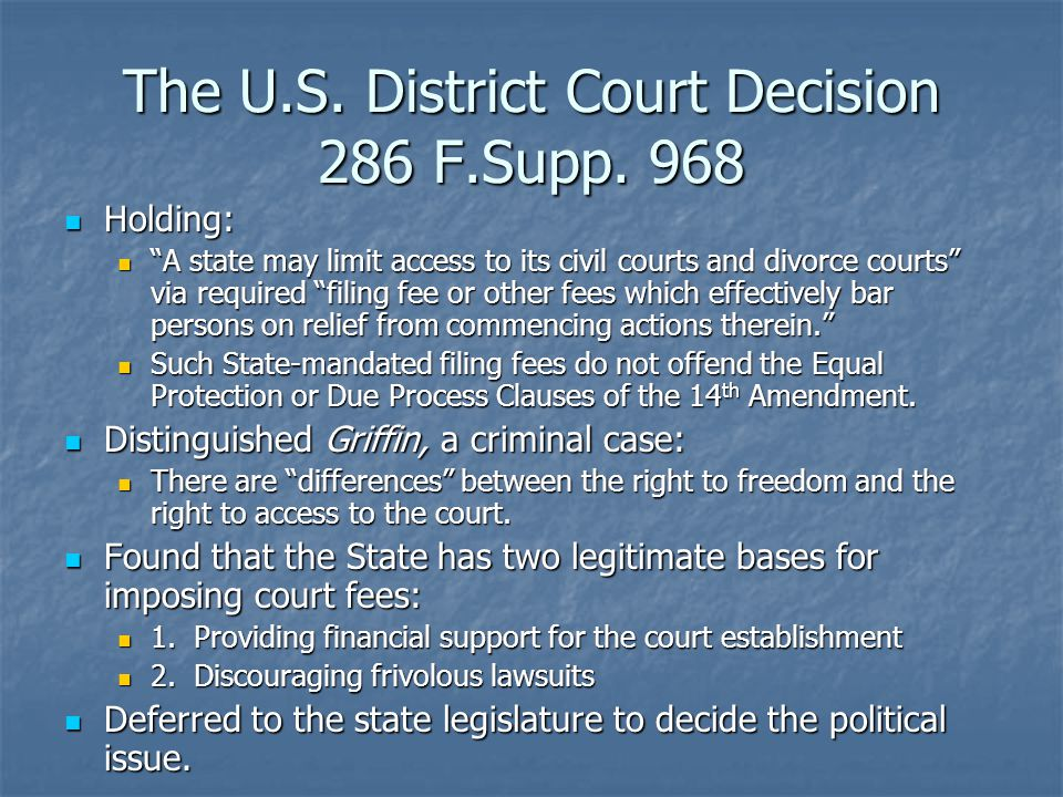 The U.S. District Court Decision 286 F.Supp.