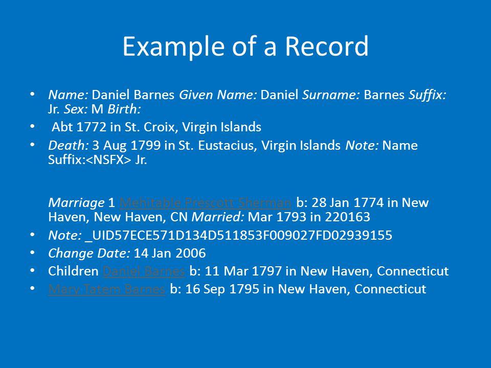 Example of a Record Name: Daniel Barnes Given Name: Daniel Surname: Barnes Suffix: Jr.