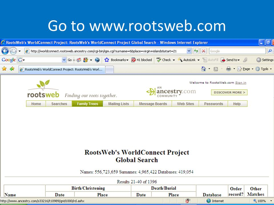 Go to www.rootsweb.com