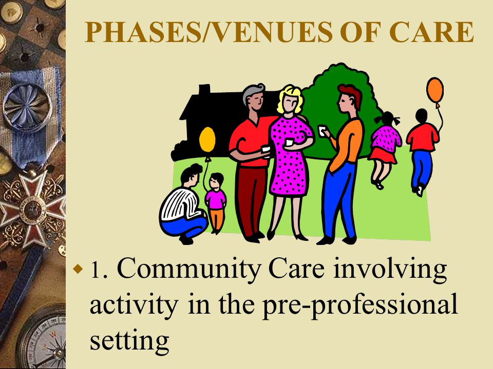 PHASES/VENUES OF CARE  1. Community Care involving activity in the pre-professional setting