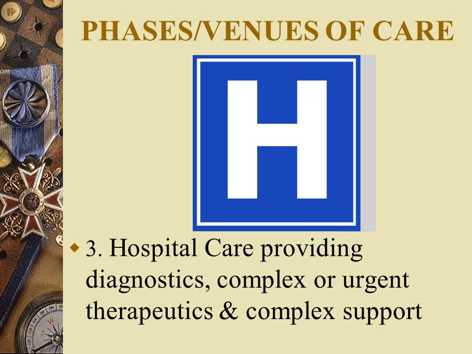 PHASES/VENUES OF CARE  3.