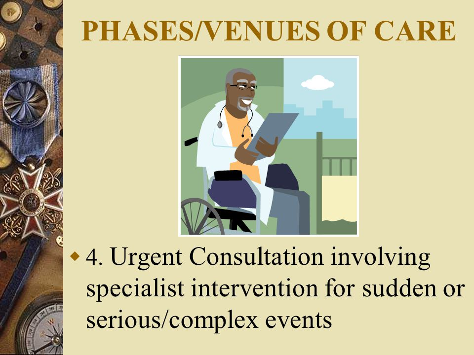 PHASES/VENUES OF CARE  4.