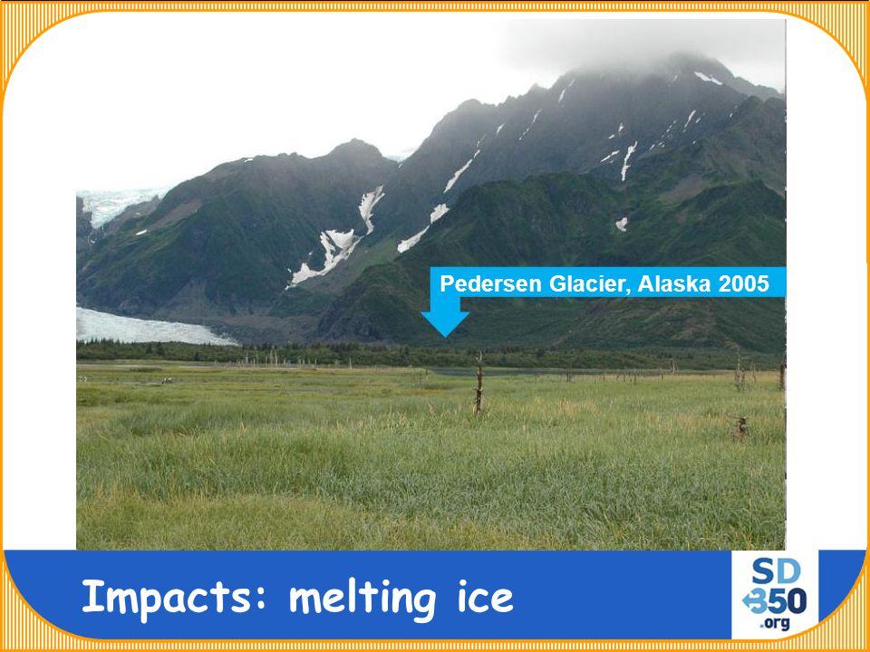 Pedersen Glacier, Alaska 1920 Pedersen Glacier, Alaska 2005 Impacts: melting ice