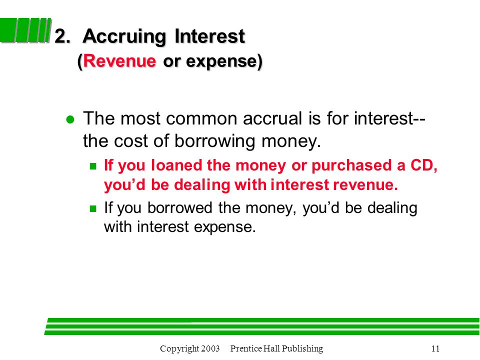 Copyright 2003 Prentice Hall Publishing11 2. Accruing Interest (Revenue or expense) 2.