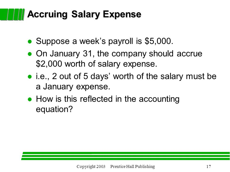 Copyright 2003 Prentice Hall Publishing17 Accruing Salary Expense l Suppose a week's payroll is $5,000.