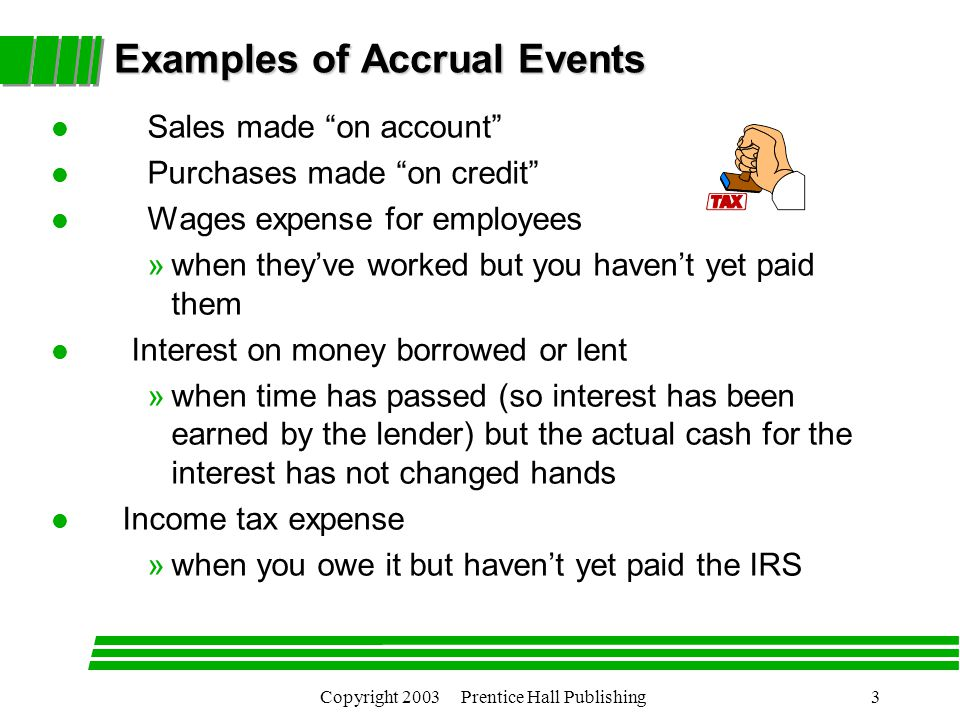 Copyright 2003 Prentice Hall Publishing3 Examples of Accrual Events l Sales made on account l Purchases made on credit l Wages expense for employees »when they've worked but you haven't yet paid them l Interest on money borrowed or lent »when time has passed (so interest has been earned by the lender) but the actual cash for the interest has not changed hands l Income tax expense »when you owe it but haven't yet paid the IRS