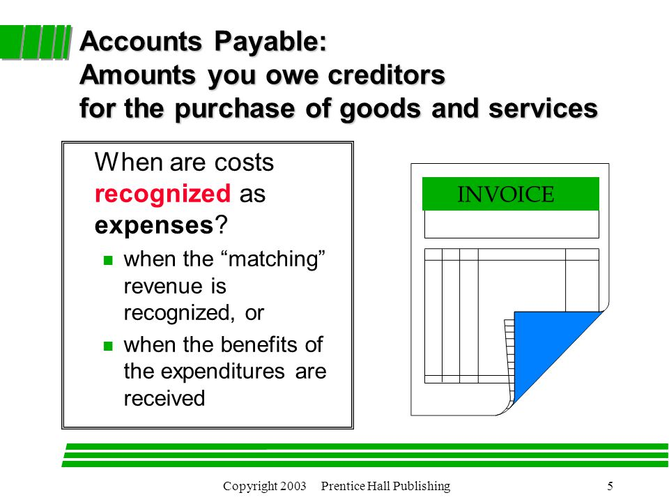 Copyright 2003 Prentice Hall Publishing5 Accounts Payable: Amounts you owe creditors for the purchase of goods and services When are costs recognized as expenses.