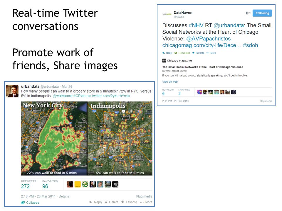 Real-time Twitter conversations Promote work of friends, Share images