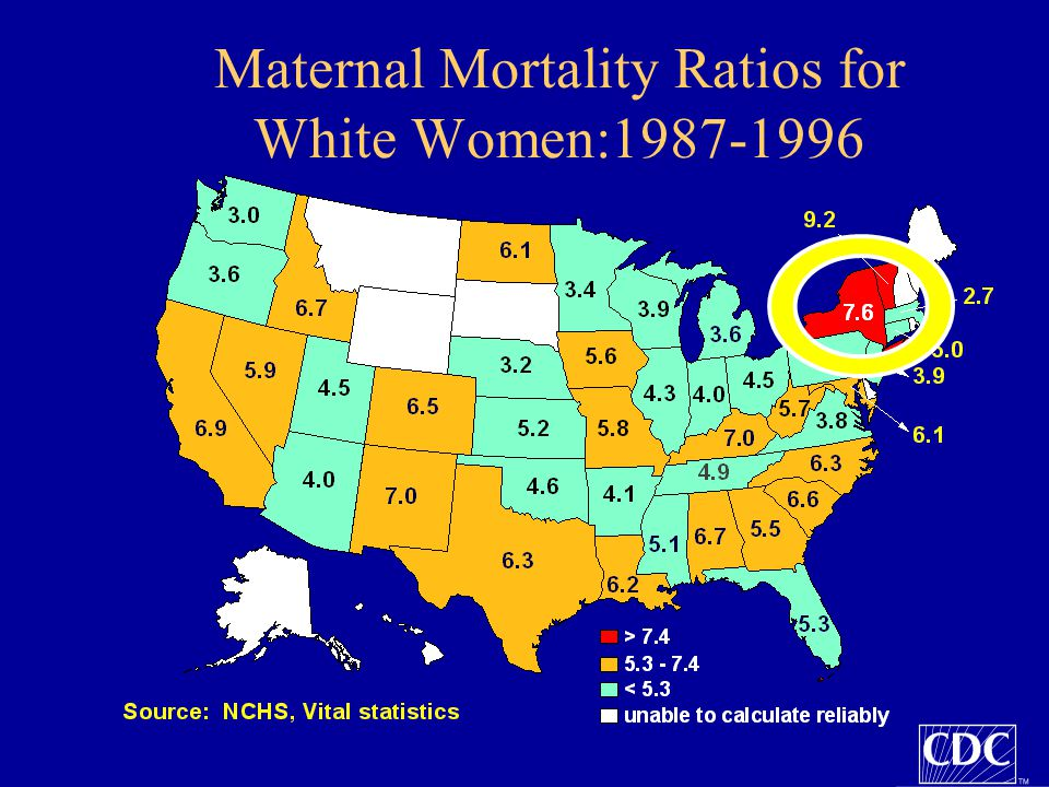 Maternal Mortality Ratios for White Women:1987-1996 Note: The colors on these maps show the states divided into three terciles based on their MMR.