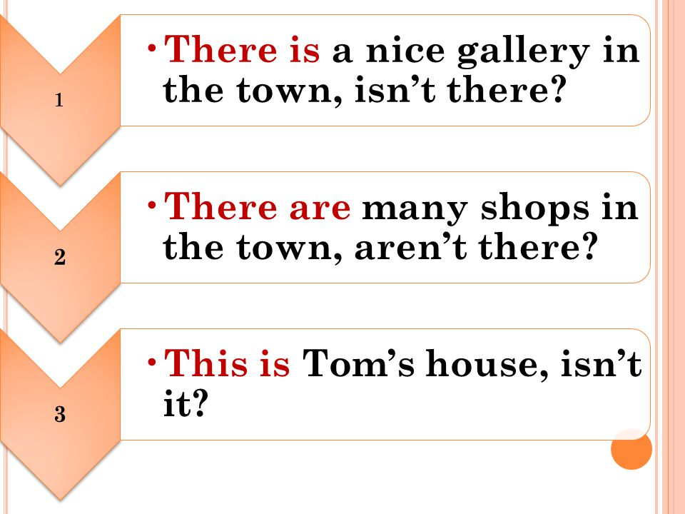 1 There is a nice gallery in the town, isn't there.