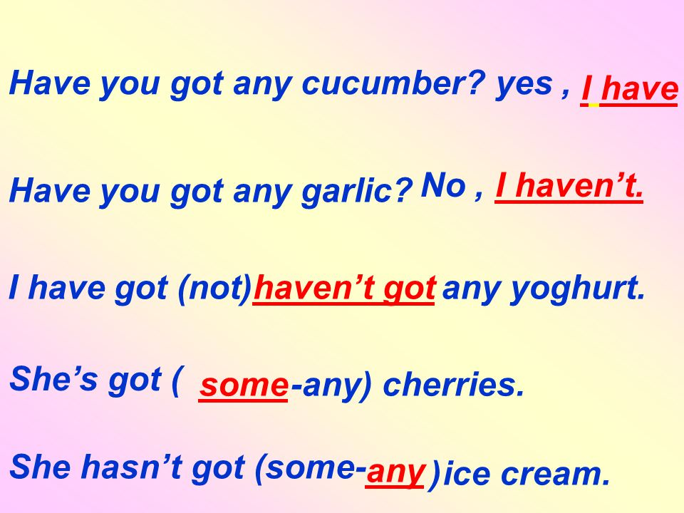 Have you got any cucumber. I have yes, Have you got any garlic.