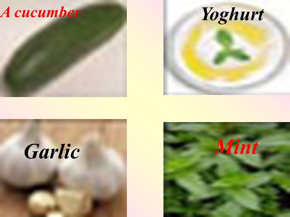 A cucumber Yoghurt Garlic Mint