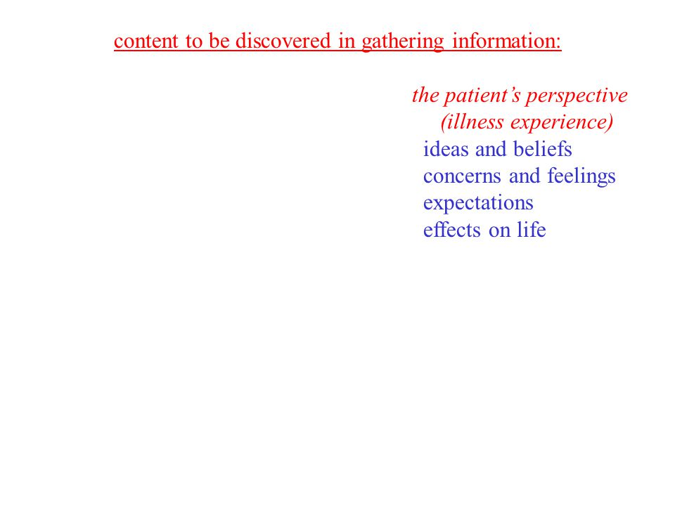 content to be discovered in gathering information: the patient's perspective (illness experience) ideas and beliefs concerns and feelings expectations effects on life