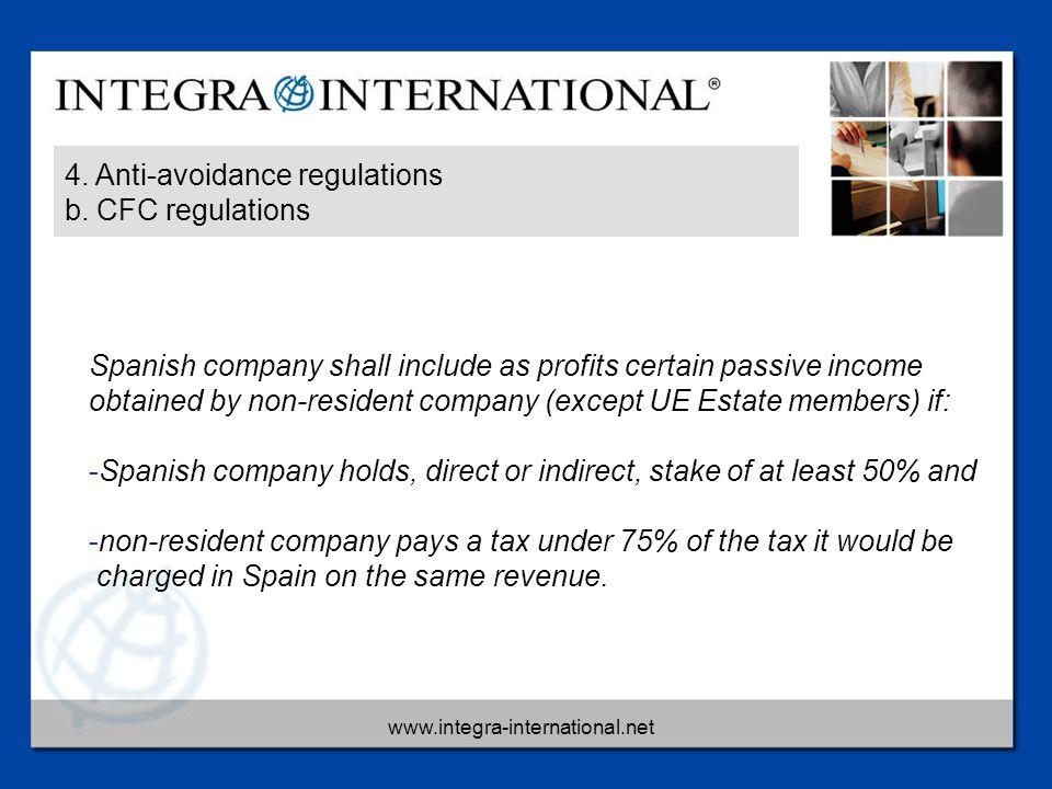 www.integra-international.net 4. Anti-avoidance regulations b. CFC regulations Spanish company shall include as profits certain passive income obtaine