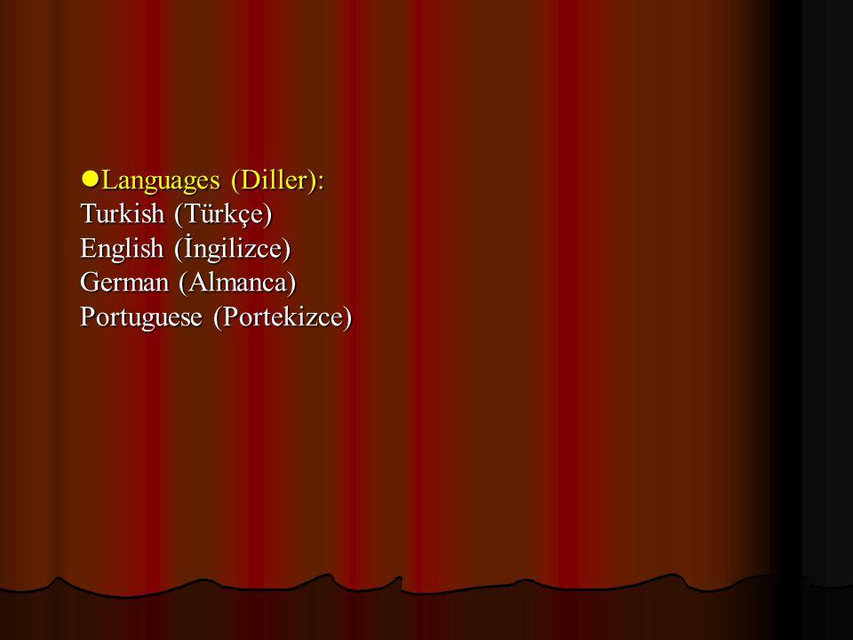 Languages (Diller): Languages (Diller): Turkish (Türkçe) English (İngilizce) German (Almanca) Portuguese (Portekizce)