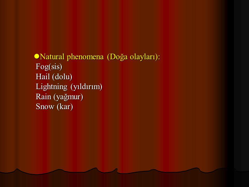 Natural phenomena (Doğa olayları): Natural phenomena (Doğa olayları): Fog(sis) Fog(sis) Hail (dolu) Hail (dolu) Lightning (yıldırım) Lightning (yıldır
