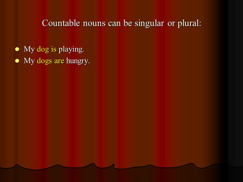 Countable nouns can be singular or plural: My dog is playing.
