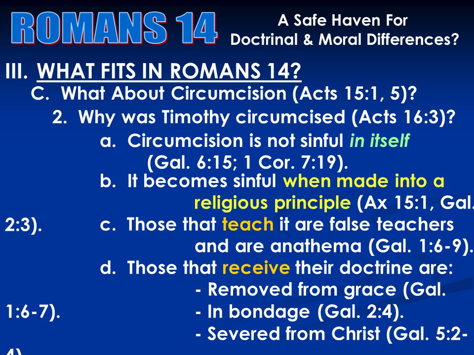 III.WHAT FITS IN ROMANS 14. A Safe Haven For Doctrinal & Moral Differences.