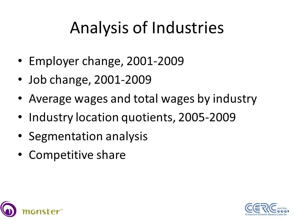 Analysis of Industries Employer change, 2001-2009 Job change, 2001-2009 Average wages and total wages by industry Industry location quotients, 2005-2009 Segmentation analysis Competitive share