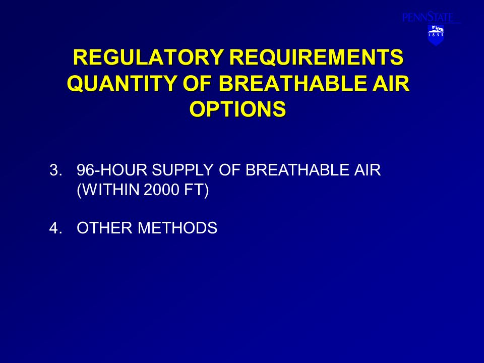 REGULATORY REQUIREMENTS QUANTITY OF BREATHABLE AIR OPTIONS 3.96-HOUR SUPPLY OF BREATHABLE AIR (WITHIN 2000 FT) 4.OTHER METHODS