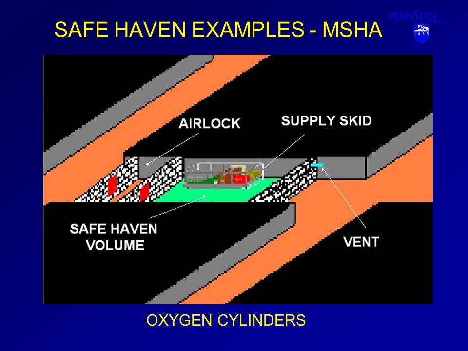 SAFE HAVEN EXAMPLES - MSHA OXYGEN CYLINDERS