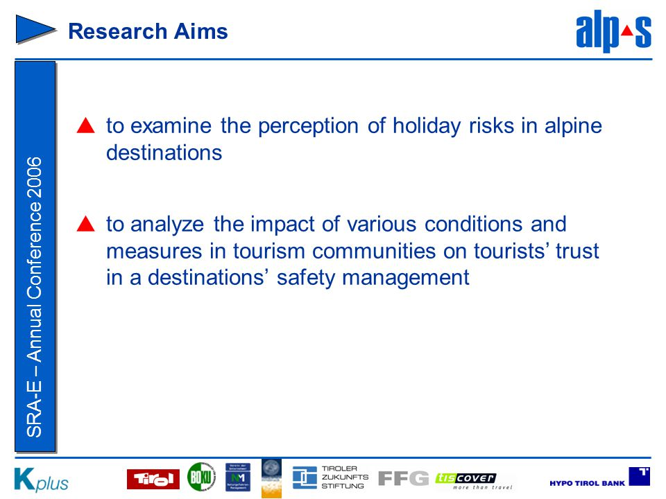 SRA-E – Annual Conference 2006 Conclusion  Risks of highest relevance for destination choice ≠ Risks of highest importance in Tyrol → no highest priority risks.
