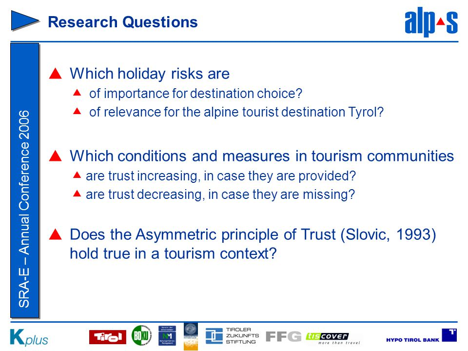 SRA-E – Annual Conference 2006 Research Questions  Which holiday risks are  of importance for destination choice.