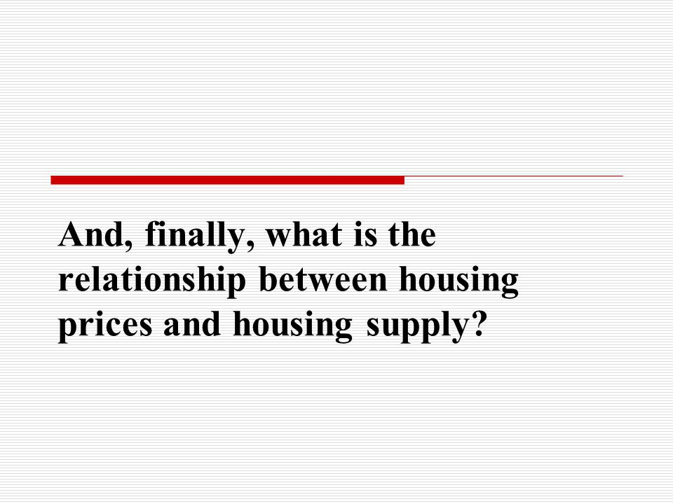 And, finally, what is the relationship between housing prices and housing supply?