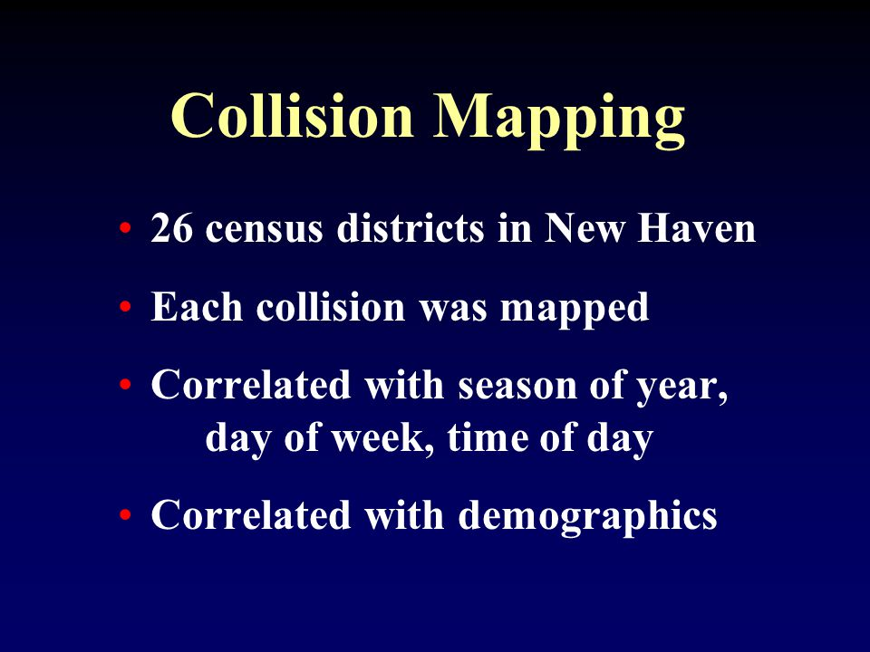 Collision Mapping 26 census districts in New Haven Each collision was mapped Correlated with season of year, day of week, time of day Correlated with demographics