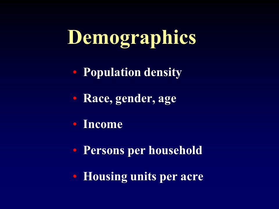 Demographics Population density Race, gender, age Income Persons per household Housing units per acre