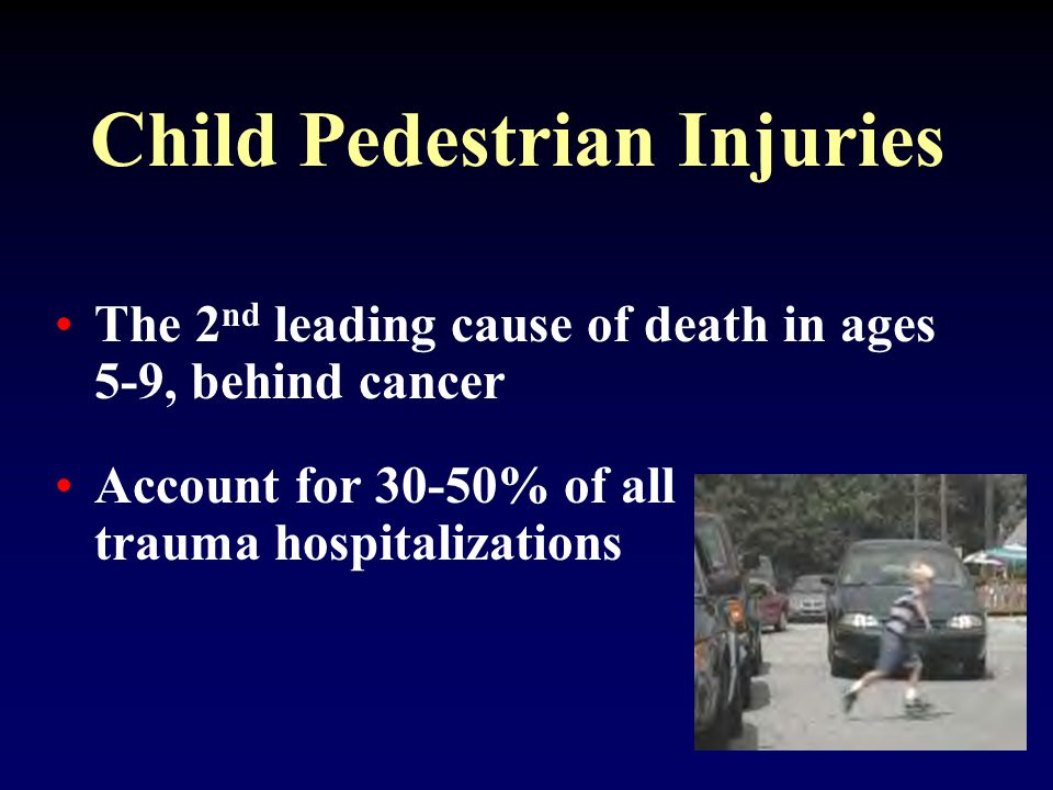 Child Pedestrian Injuries 18,000 annual hospital admissions Fatality rate is 4%
